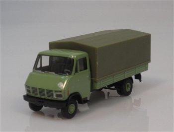 Modell-LKW:Steyr 590 Pritsche/Plane, grün(Brekina, 1:87)