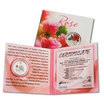 10-Rubel-Silbermünze Rose - Blume der Liebe, Weißrussland