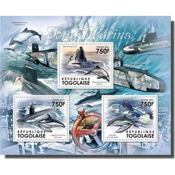 U-Boote, Wale und Delphine - Briefmarken-Block, Togo