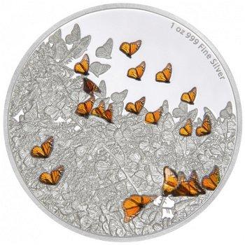 Great Migrations: Monarchfalter, 2 Dollar Silbermünze, Niue