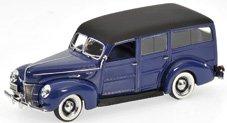 Modellauto:Ford V8 De Luxe Woody Stationwagon von 1940, blau(Minichamps, 1:43)