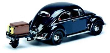Modellauto:VW Käfer Ovali mit Anhänger und Gepäck, dunkelblau(Schuco, 1:43)