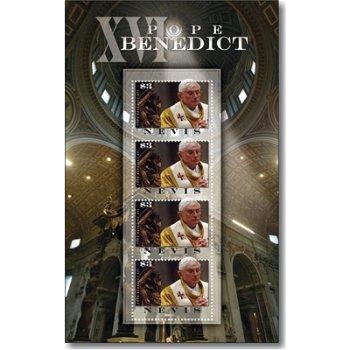 Papst Benedikt XVI. - Briefmarken-Block postfrisch, Nevis