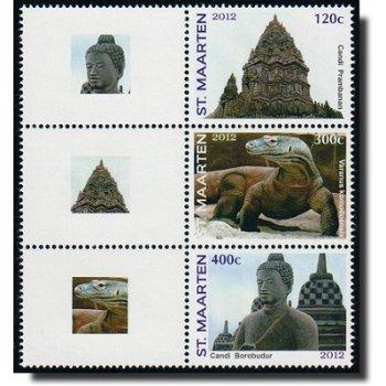Briefmarkenausstellung Jakarta 2012 - 3 zusammenhängend gedruckte Briefmarken postfrisch, Sint Maart