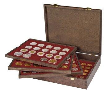 Echtholzkassette CARUS für 80 Münzrähmchen 50x50 mm/Münzkapseln, Lindner 2494-2122 CE