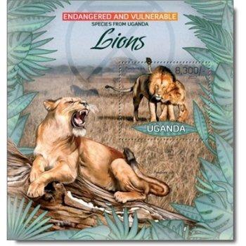 Löwen - Briefmarken-Block postfrisch, Uganda