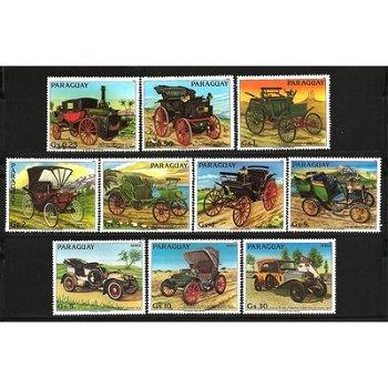 Alte Automobile - zehn Briefmarken, Paraguay