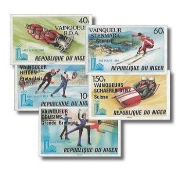 """Olympischen Winterspiele 1980 """"Aufdruck"""" - 5 Briefmarken ungezähnt postfrisch, Katalog-Nr."""