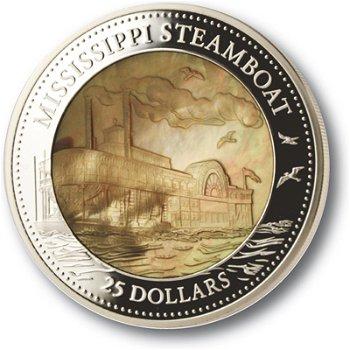 Mississippi Raddampfer, 25 Dollar Silbermünze mit Perlmutt, Cook Inseln