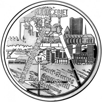Industrial landscape of the Ruhr area, 10 euro silver coin 2003, brilliant uncirculated