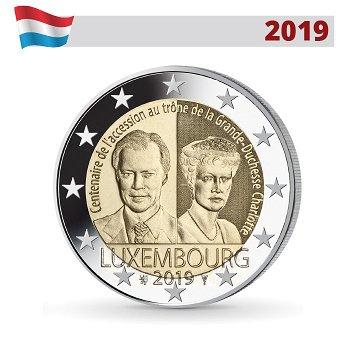 100. Jahrestag Thronbesteigung von Großherzogin Charlotte, 2 Euro Münze 2019, Luxemburg
