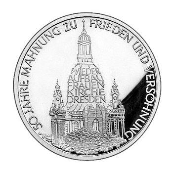 """10-DM-Silbermünze """"Frauenkirche Dresden"""", Polierte Platte"""