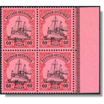 German colonies of German East Africa - block of four mint never hinged, catalog no. 37