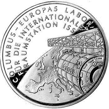 Columbus-Labor für die Raumstation ISS, 10-Euro-Silbermünze 2004, Stempelglanz