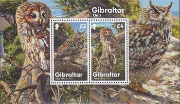 Eulen aus Gibraltar - Briefmarken-Block postfrisch, Gibraltar
