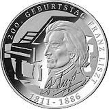 200. Geburtstag Franz Liszt, 10-Euro-Silbermünze 2011, Polierte Platte