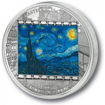 Meisterwerke der Kunst: Sternennacht von van Gogh, 20 Dollar Silbermünze, Cook Inseln