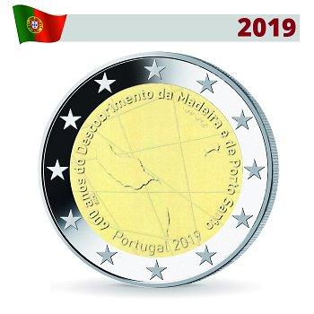 600 Jahre Entdeckung von Madeira, 2 Euro Münze 2019, Portugal