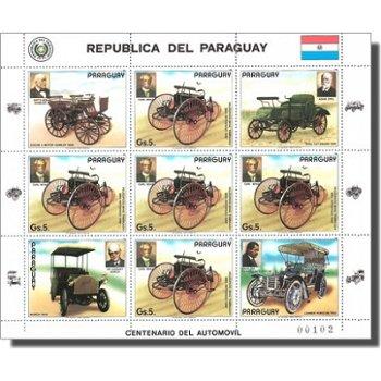 100 Jahre Automobil/Historische Autos - Briefmarken-Kleinbogen, Katalog-Nr. 3971, Paraguay