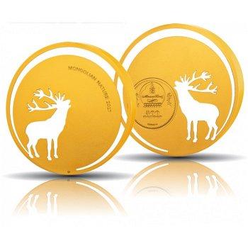 Röhrender Hirsch, 500 Togrog Silbermünze vergoldet, Mongolei