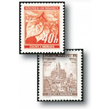 Postage stamp supplementary values - 4 stamps mint never hinged, catalog no. 38-41, Bohemia and Moravia