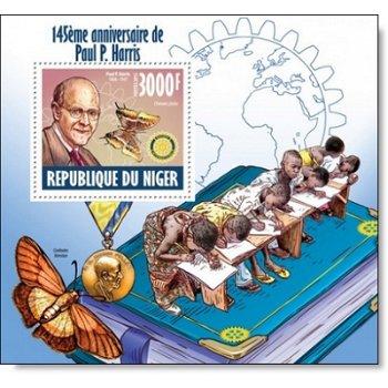 145. Geburtstag von Paul P. Harris - Briefmarkenblock postfrisch, Niger