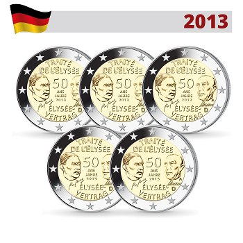 2 Euro Münze 2013, 50 Jahre Élysée-Vertrag, Deutschland, alle 5 Prägezeichen