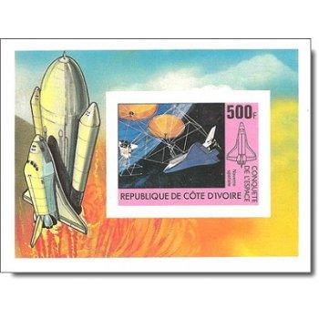 Raumfahrt - Briefmarken-Block ungezähnt postfrisch, Katalog-Nr. 684 Bl. 17 B, Elfenbeinküste