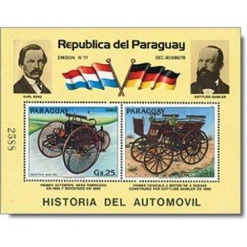 Geschichte des Automobils – Briefmarken-Block postfrisch, Katalog-Nr. 3643 Bl. 428, Paraguay
