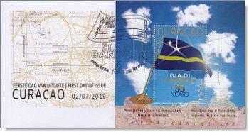 35 Jahre Nationalflagge - Briefmarkenblock auf Ersttagsbrief, Curacao
