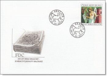 400 Jahre der Kralitzer Bibel - Ersttagsbrief, Tschechische Republik