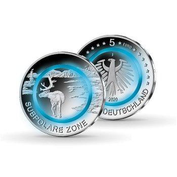 Subpolare Zone - 5 Euro Münze mit Polymerring, Stempelglanz, Deutschland