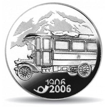 100 Jahre Postauto, 20 Franken Münze 2006 Schweiz, Polierte Platte