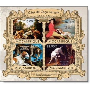 Gemälde Jagdhunde II - Briefmarken-Block postfrisch, Katalog-Nr. 6299 - 6302, Mocambique