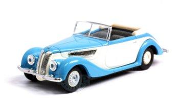 Modellauto:BMW 327 Cabrio, blau-weiß(Busch, 1:87)