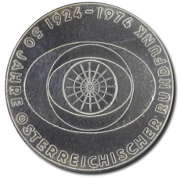 """50-Schilling-Münze """"50 Jahre Österreichischer Rundfunk"""", Österreich"""