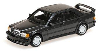 Modellauto:Mercedes-Benz 190 E 2.5-16 Evo 1von 1990, schwarz-metallic(Minichamps, 1:43)