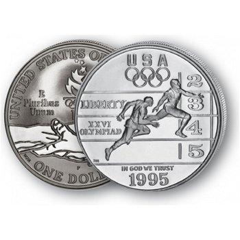 Olympiade Atlanta: Leichtathletik - Silberdollar 1995, 1 Dollar Silbermünze, USA
