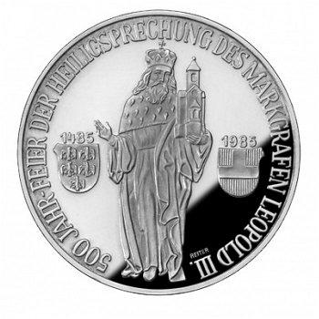 500 Jahre Heiligsprechung des Markgrafen Leopold III., 500-Schilling-Münze 1985, Österreich