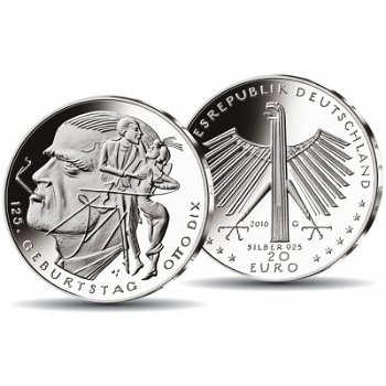 125. Geburtstag Otto Dix, 20 Euro Silbermünze Stempelglanz, Deutschland
