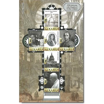 300. Jahrestag der Fertigstellung der St. Pauls Kathedrale - Briefmarken-Block postfrisch, Liberia