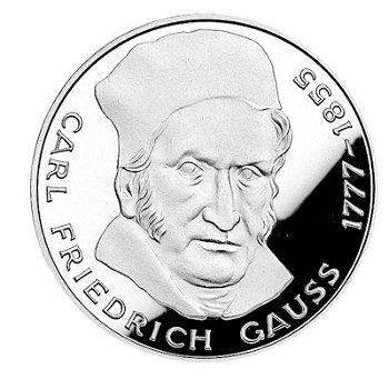"""5-DM-Silbermünze """"200. Geburtstag Carl Friedrich Gauss"""", Polierte Platte"""