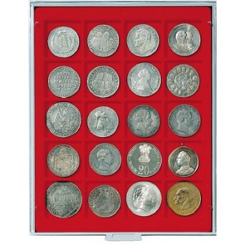 LINDNER Münzenbox, quadratische Vertiefungen 47mm, LI 2720, Rauchglas