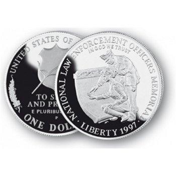 Law Enforcement Memorial Officers - Silberdollar 1997, 1 Dollar Silbermünze, USA