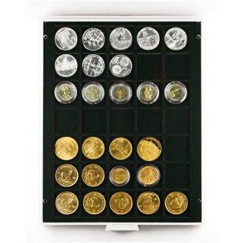 LINDNER Münzenbox, quadratische Vertiefungen 36mm, LI 2135, Carbo