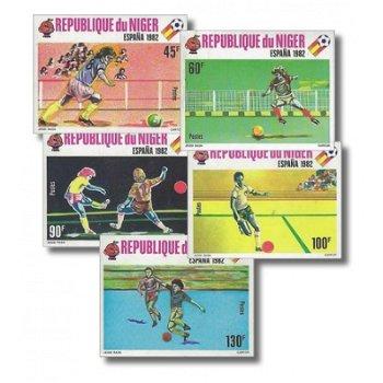 Fußballweltmeisterschaft 1982 - 5 Briefmarken ungezähnt postfrisch, Katalog-Nr. 719-723, Niger