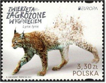 Europa 2021: Gefährdete nationale Tierwelt - Briefmarke postfrisch, Polen