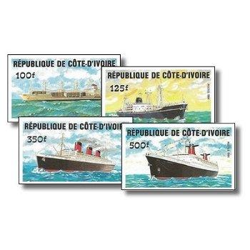 Schiffe - 4 Briefmarken ungezähnt postfrisch, Katalog-Nr. 830B-833B, Elfenbeinküste