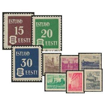 Komplette Sammlung - 12 Briefmarken postfrisch, Katalog-Nr. 1-3x, 1-3y, und 4-9, Deutsche Besetzung