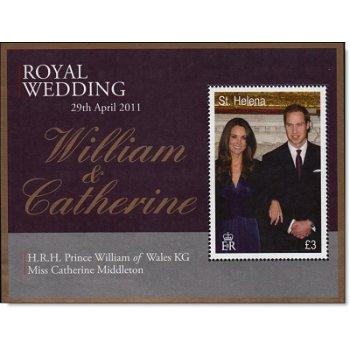 Königliche Hochzeit William und Kate - Briefmarken-Block, St. Helena